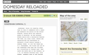 Screenshot of the BBC Domesday Reloaded website