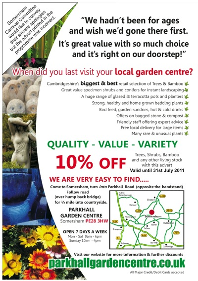 Revised Parkhall Garden Centre advert