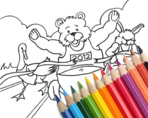 Colouring sheet with some colouring pencils