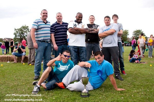 The winning tug-of-war team from 2011 Somersham Carnival.