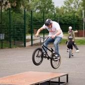 Stunt biker mid-jump
